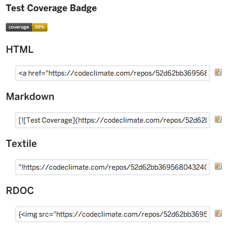 Test Coverage Badge Snippets